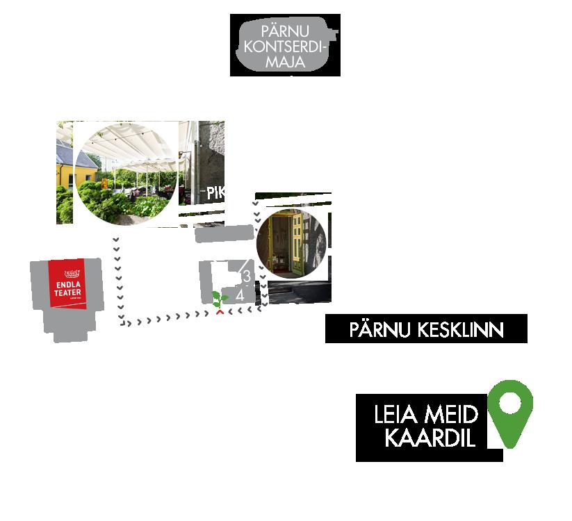 Kohvik-restoran Hea Maa asukoht Endla ja Pärnu Kontserdimaja vahel